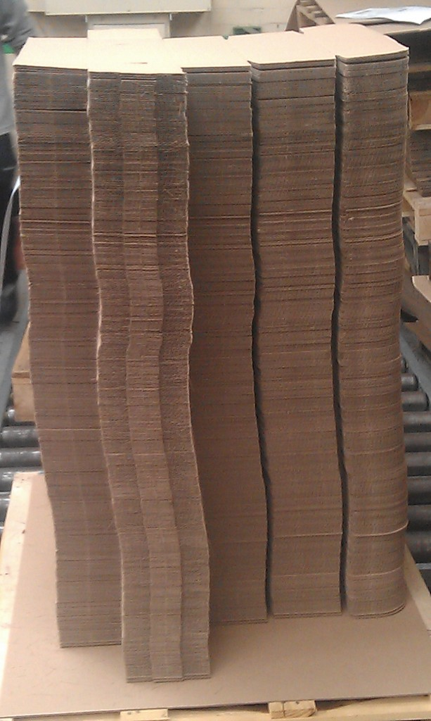 Die cut boxes stacked up
