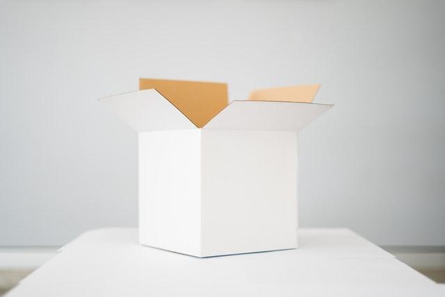 corrugated white box